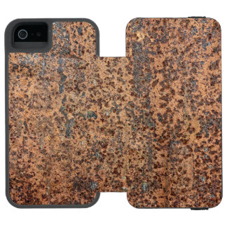 Brown Rusted Metal Corrosion Pattern 2 Wallet Case For iPhone SE/5/5s