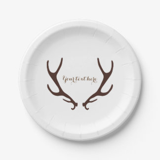 Brown Rustic Antlers Wedding Reception Party Paper Plate