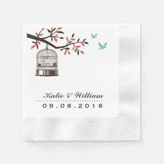 Brown Rustic Bird Cage Wedding Paper Napkins