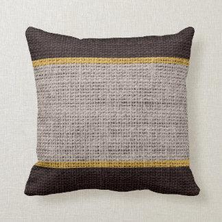 Brown Rustic Burlap Jute Background Throw Pillow