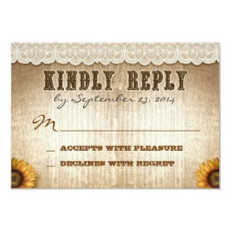 brown rustic country style wedding RSVP with lace Card