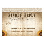 brown rustic country style wedding RSVP with lace Custom Invitations
