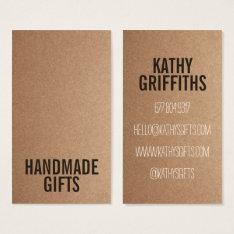 Brown Rustic Kraft Paper Diy Handmade Cardboard Business Card at Zazzle