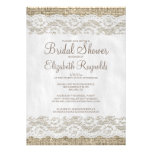 Brown Rustic Lace Bridal Shower Invitations Announcements
