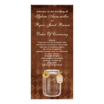 brown rustic mason jar  Wedding program
