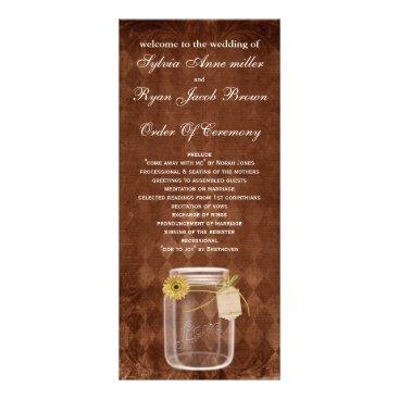 brown rustic mason jar  Wedding program
