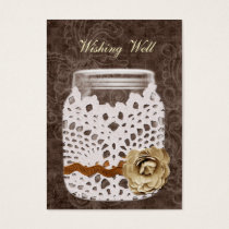 brown rustic mason jar wishing well cards