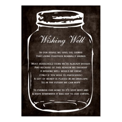 brown rustic mason jar wishing well cards business cards