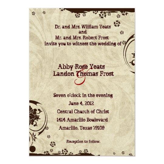 Brown Rustic Parchment Swirl Wedding Invitations