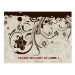 Brown Rustic Parchment Tooled Leather RSVP Postcard