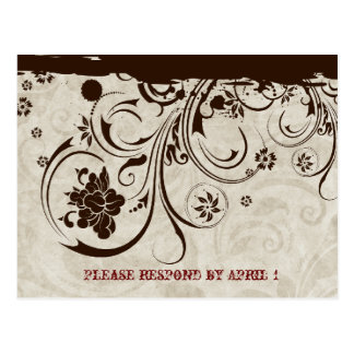 Brown Rustic Parchment Tooled Leather RSVP Post Cards