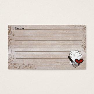 Brown rustic swirls chef hat recipe cards