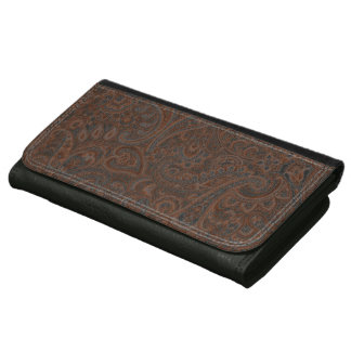 Brown Rustic Vintage Paisley Pattern Wallets For Women