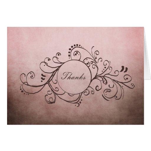 Brown rústico y el bohemio rosado le agradecen tarjeta pequeña