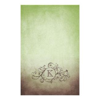 Brown rústico y Flourish bohemio verde Papeleria De Diseño