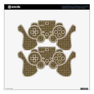 Brown Sackcloth Weave Pattern Texture Background PS3 Controller Skin