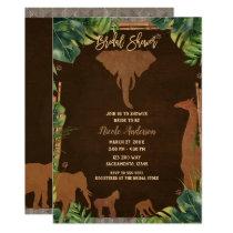 Brown Safari Jungle Zoo Animals Bridal Shower Invitation