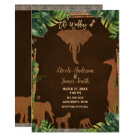 Brown Safari Jungle Zoo Animals Modern Wedding Invitation