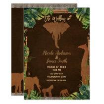Brown Safari Jungle Zoo Animals Modern Wedding Invitation