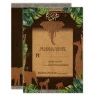 Brown Safari Jungle Zoo Animals Wedding RSVP Card
