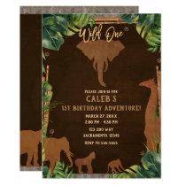 Brown Safari Jungle Zoo Animals WILD ONE 1st Party Invitation