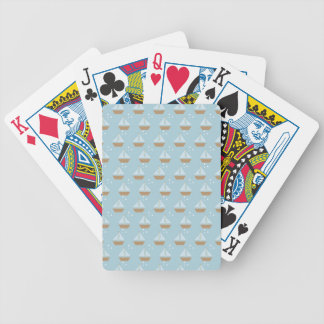 Brown Sailboats on Slate Blue with Stars Bicycle Playing Cards