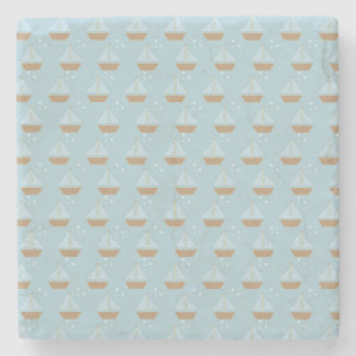 Brown Sailboats on Slate Blue with Stars Stone Beverage Coaster