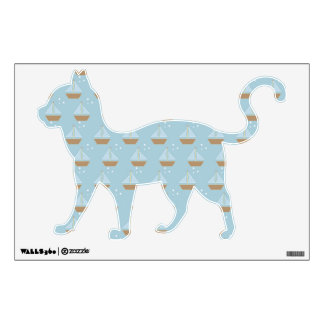 Brown Sailboats on Slate Blue with Stars Wall Decal