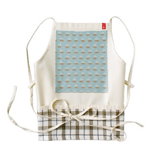 Brown Sailboats on Slate Blue with Stars Zazzle HEART Apron