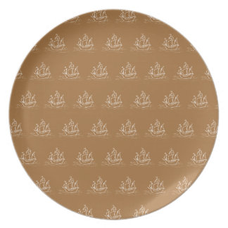 Brown Sailing Ship Pattern. Melamine Plate
