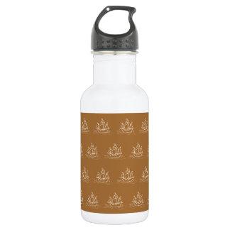 Brown Sailing Ship Pattern. Stainless Steel Water Bottle
