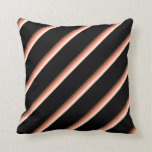[ Thumbnail: Brown, Salmon, Beige, and Black Colored Lines Throw Pillow ]