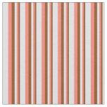[ Thumbnail: Brown, Salmon & Lavender Striped Pattern Fabric ]