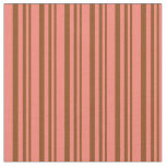 [ Thumbnail: Brown & Salmon Striped/Lined Pattern Fabric ]