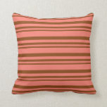 [ Thumbnail: Brown & Salmon Striped/Lined Pattern Throw Pillow ]