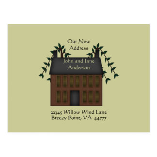 Brown Saltbox House New Address Postcard