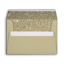 Brown Sand Envelope, Gold Glitter Lined Envelope
