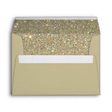 Mintleafstudio Brown Sand Envelope, Gold Glitter Lined Envelope