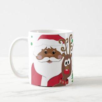 Brown Santa and Rudolph playful Christmas Mug