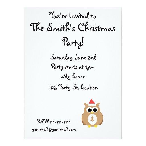 Brown santa owl 5.5x7.5 paper invitation card
