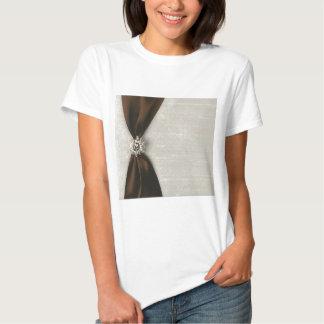 Brown Satin look Ribbon with Jewel like T-shirt