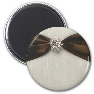 Brown Satin Ribbon with Jewel 2 Inch Round Magnet