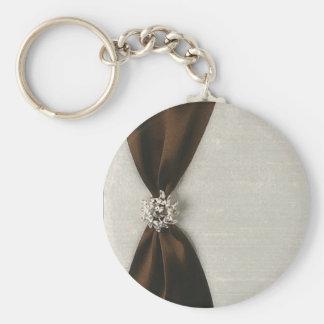 Brown Satin Ribbon with Jewel Basic Round Button Keychain