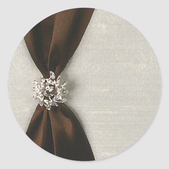 Brown Satin Ribbon with Jewel Classic Round Sticker