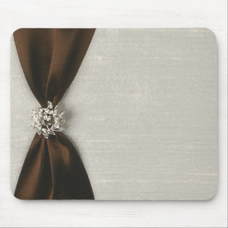 Brown Satin Ribbon with Jewel Mouse Pad