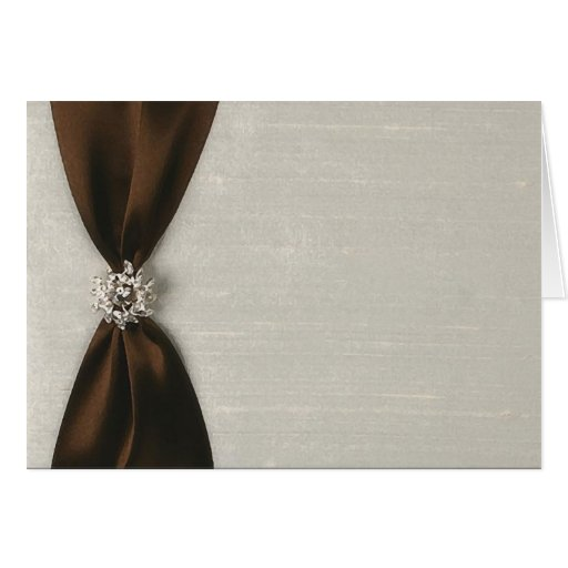 Brown Satin Ribbon with Jewel Stationery Note Card