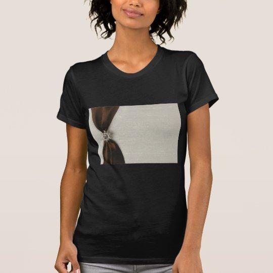 Brown Satin Ribbon with Jewel T-Shirt