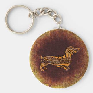Brown sausage dog graphic keychain