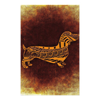 Brown sausage dog graphic stationery