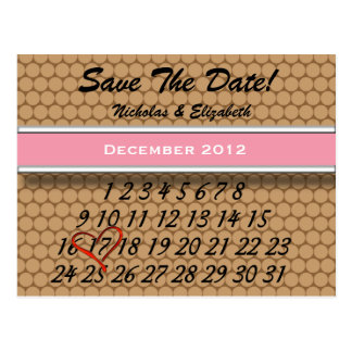 Brown Save the Date Custom Calandar Postcard